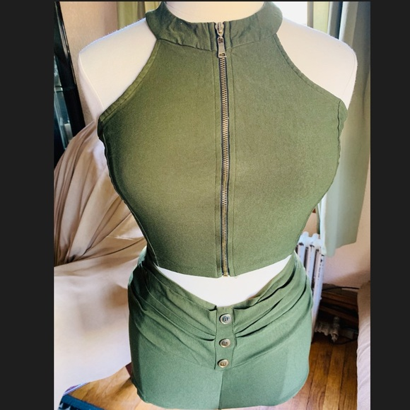 Other - Army Green Crop top and short set